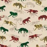 Modello esotico senza cuciture con le siluette astratte delle tigri illustrazione di stock