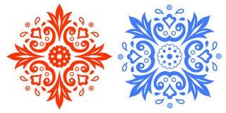 Modello etnico astratto Insieme dei disegni astratti rossi e blu royalty illustrazione gratis