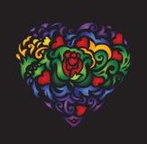 Modello etnico del cuore Immagine Stock