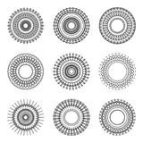Modello etnico di stile del cerchio della geometria su fondo bianco Vettore Immagini Stock
