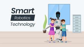 Modello facente da babysitter futuristico dell'insegna di vettore Piccolo bambini con i caratteri artificiali della babysitter Fa illustrazione di stock