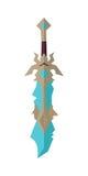 Modello fantastico Vector della spada del gioco nella progettazione piana Immagini Stock