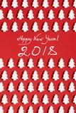 Modello fatto della decorazione di natale bianco con l'albero di Natale su fondo rosso Carta da parati di Natale Fotografie Stock Libere da Diritti