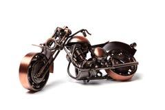 Modello fatto a mano della bici su ordinazione del motociclo Modello di scala di rame del selettore rotante Vista laterale Isolat fotografia stock libera da diritti