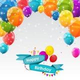 Modello felice del biglietto di auguri per il compleanno con l'illustrazione di vettore dei palloni Fotografie Stock