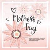 Modello felice del fondo della carta di giorno di madre con i fiori e lo spazio della copia Fotografia Stock Libera da Diritti