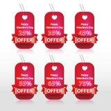 Modello felice dell'etichetta del nastro di giorno di biglietti di S. Valentino Fotografia Stock Libera da Diritti