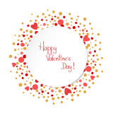 Modello felice della carta di giorno di biglietti di S. Valentino fondo romantico Immagini Stock