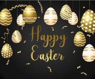 Modello felice di pasqua con il nastro ed uova dell'oro, struttura, fondo verde e coriandoli dell'oro royalty illustrazione gratis
