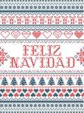 Modello Feliz Navidad ispirato da festivo, cultura nordica di Natale di vettore di inverno in punto trasversale con i cuori, rega illustrazione vettoriale