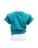 Modello femminile della maglietta sul manichino (lato posteriore) sul BAC bianco Immagini Stock Libere da Diritti