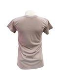 Modello femminile della maglietta sul manichino (lato posteriore) sul BAC bianco Immagini Stock