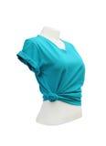 Modello femminile della maglietta sul manichino su fondo bianco Fotografie Stock