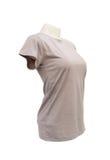 Modello femminile della maglietta sul manichino su fondo bianco Immagine Stock Libera da Diritti