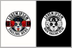 Modello femminile di logo di vettore di Calavera Catrina del cranio stupefacente ed unico dello zucchero royalty illustrazione gratis