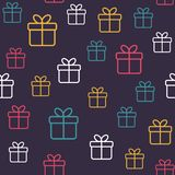 Modello festivo senza cuciture con i contenitori di regalo Fondo minimo di vettore fotografie stock