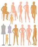 Modello fittizio di vettore del manichino per la figura del vestito e della plastica da modo dell'insieme dell'illustrazione dell Fotografie Stock