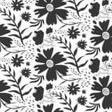 Modello floreale in bianco e nero di contrasto illustrazione di stock