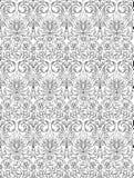 Modello floreale in bianco e nero disegnato a mano Immagine Stock