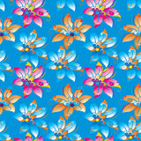 Modello floreale blu del fondo nel vettore Fotografia Stock Libera da Diritti