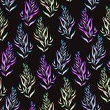 Modello floreale con il verde, il marrone, le piante porpora e blu luminose dell'acquerello, alghe Immagini Stock