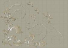 Modello floreale con le farfalle e spirali su un fondo beige Fotografia Stock Libera da Diritti