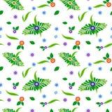 Modello floreale con le foglie verdi illustrazione di stock