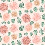 Modello floreale con le rose e le foglie arancio tenere royalty illustrazione gratis