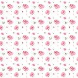 Modello floreale d'annata dell'acquerello senza cuciture con le rose rosa royalty illustrazione gratis