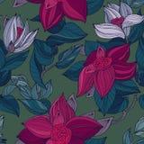 Modello floreale d'annata senza cuciture grigio e verde scuro di rosa, del turchese, illustrazione vettoriale
