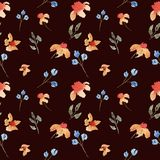 Modello floreale del bello acquerello disegnato a mano senza cuciture con i fiori arancio e porpora illustrazione di stock