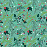 Modello floreale del fondo di Tileable di festa senza cuciture di Natale Immagini Stock