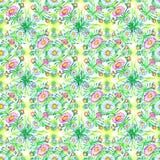 Modello floreale della primavera della camomilla e foglie verdi e rami Modello senza cuciture dell'acquerello disegnato a mano royalty illustrazione gratis