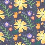 Modello floreale di estate di contrasto con i fiori arancio royalty illustrazione gratis
