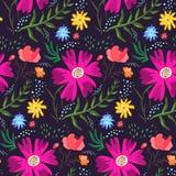 Modello floreale di estate di contrasto dei colori ricchi Immagine Stock Libera da Diritti