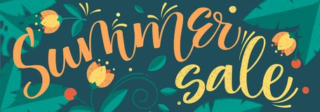 Modello floreale di grande di estate di vendita di vettore calligrafia di colore illustrazione vettoriale
