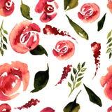 Modello floreale di ripetizione dell'acquerello Può essere usato come stampa per tessuto, fondo per l'invito di nozze Fotografia Stock
