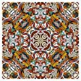Modello floreale di scarabocchio ornamentale, progettazione per il quadrato della tasca, tessuto, scialle di seta, cuscino, sciar Immagini Stock Libere da Diritti