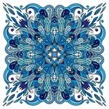 Modello floreale di scarabocchio ornamentale, progettazione per il quadrato della tasca, tessuto, scialle di seta, cuscino, sciar Fotografia Stock