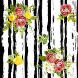 Modello floreale di stile a strisce senza cuciture Illustrazione di vettore Fotografie Stock