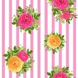 Modello floreale di stile a strisce senza cuciture Illustrazione di vettore Fotografia Stock