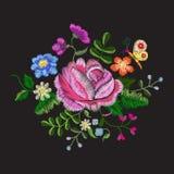 Modello floreale di tendenza del carrello del colorfull del ricamo illustrazione di stock