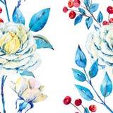 Modello floreale di vettore dell'acquerello Fotografia Stock
