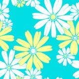 Modello floreale di vettore senza cuciture blu e giallo della camomilla illustrazione vettoriale