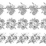 Modello floreale disegnato a mano di vettore senza cuciture, struttura variopinta del confine senza fine con i fiori, foglie, coc Fotografie Stock