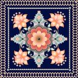 Modello floreale indiano del medaglione di Paisley Stampa etnica della bandana Tappeto, cartolina d'auguri, piastrella di ceramic illustrazione vettoriale