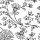 Modello floreale monocromatico senza cuciture disegnato a mano in mehendi indiano Fotografia Stock Libera da Diritti