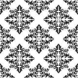 Modello floreale nero senza cuciture su bianco Fotografie Stock Libere da Diritti