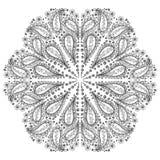 modello floreale rotondo disegnato a mano con il motivo di Paisley Fotografie Stock Libere da Diritti