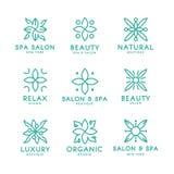 Modello floreale semplice e grazioso di progettazione del monogramma, progettazione elegante di logo del lineart, illustrazione d Fotografia Stock